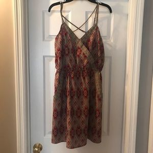 Green and Red Print Dress in Wom